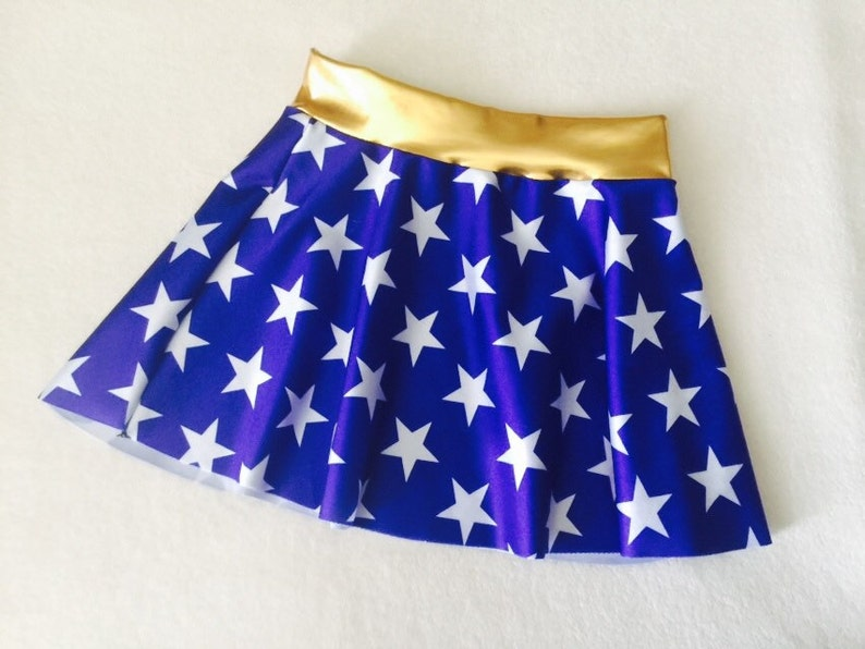 Wonder Woman Skirt Girls costume royal blue and white stars 6 image 0