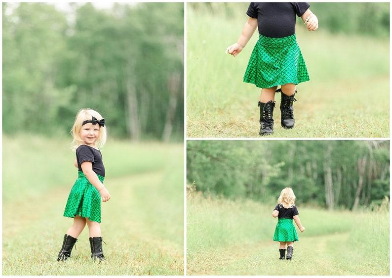 Mermaid Skirt Green & Black Skater Style girls twirl skirt image 0