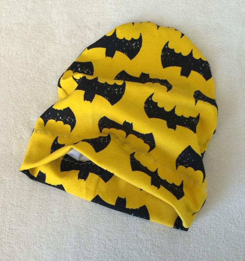 a8a73b326aa Black Yellow Bat Wings Batman print Slouchy Beanie Skull Cap