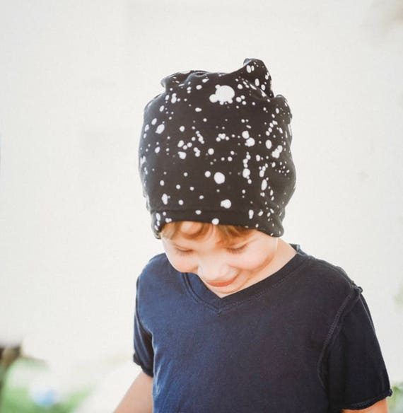 Black and White paint spatter dots Slouchy Beanie Skull Cap  85e00bb66b4