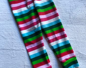 Striped Leggings Red White Green Stripes Baby Toddler Kids Girls Boys unisex pants Size 0 3 6 9 12 18 24 months 2T 3T 4T 5T 6 7 striped