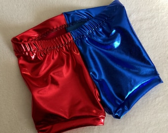 Girls Red and Blue Shorts costume 6 12 18 24 month 2T 3T 4T 5T 4 5 6 7 8 9 10 12 14 Cartwheel Gymnastics kids baby toddler Halloween Costume
