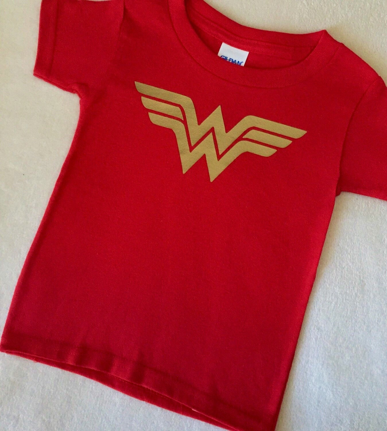 dade0a64403 Wonder Woman T Shirt Baby Toddler Girls Red and Gold 6 9 12 18