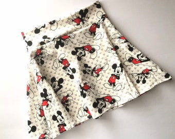 Mickey Mouse Skirt red black white twirl girls 6 9 12 18 24 months 2T 3T 4T 5T 5 6 7 8 9 10 11 12 Birthday circle Minnie outfit