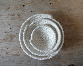 Cotton Rope Bowls: Set of 3, Sm. Med. Lrg. Catch All, Jewelry, Unbleached, Natural, Nesting Bowls, Sewn Bowl, Fiber, Clothesline, Rope Bowl