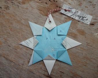 Hawaii, USA Origami Map Ornament:  Home Decor, Road Map, Vacation, Christmas, Travel, Birthday, Wedding, Graduation, Moving, Upcycle, Gift,
