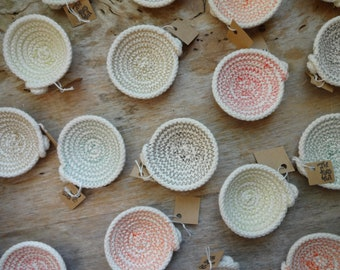 Tiny Cotton Rope Bowl!  Catch All, Jewelry, Unbleached, Natural, Nesting Bowls, Sewn Bowl, Fiber, Clothesline, Vintage Thread, Ring Dish