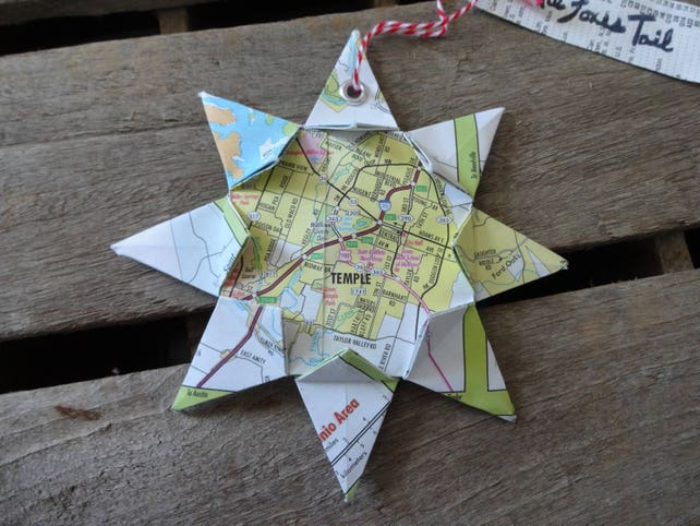 Temple Texas Origami Map Ornament Home Decor Wall Art Etsy