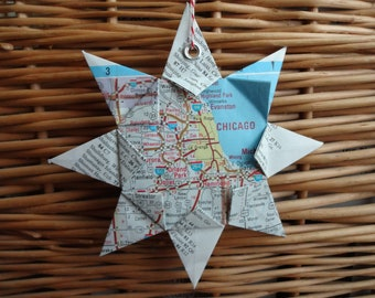 Chicago, Illinois Origami Map Ornament, Home Decor, Wall Art, Road Map, Vacation, Christmas, Holiday, Wedding, Graduation, Moving, Gift