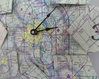 Omaha, Nebraska Origami Flight Map Clock: Housewarming, Travel, Destination, Wedding, Retirement, First Anniversary, Unique Gift, Zero Waste