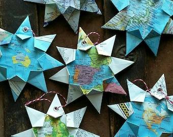 Mini Origami Map Ornament, Any City! Home Decor, Wall Art, Road Map, Vacation, Christmas, Holiday, Wedding, Graduation, Moving, KeepsakeGift