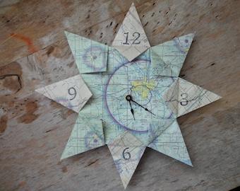 Des Moines, Iowa Origami Flight Map Clock: Housewarming, Travel, Wedding, Retirement, First Anniversary, Unique Gift, Zero Waste, Eco Brand