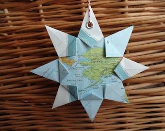 Alaska Origami Map Ornament, Keepsake, Home Decor, Wall Art, Road Map, Vacation, Christmas, Holiday, Zero Waste, Birthday, Wedding, Travel