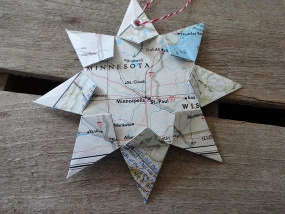 Minneapolisst Paul Origami Map Ornament Home Decor Wall Etsy