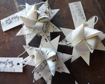 Sheet Music Folded Moravian Star, Origami, Paper Craft, Ornament, Upcycle, Reduce, Reuse, Recycle, Zero Waste, Music Lover, Musician