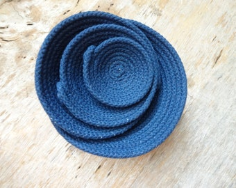 Navy Cotton Rope Bowls: 4 Sizes! Tiny, Sm, Med, Lrg. Catch All, Jewelry, Nesting Bowls, Sewn Bowl, Fiber, Clothesline, USA Made, Travel Gift