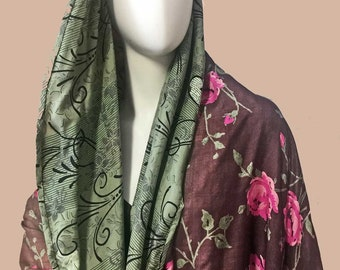 Vintage Silks Lined Cocoon Kimono Robe Opera Evening Coat Topper Boho Cover-up Art to Wear Roses Green & Black Prints Cape Collar One Size