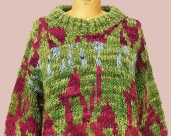 Vintage Ethnic/Abstract Design Sheep's Wool Sweater From Ecuador - Gorgeous Colors  - Size M