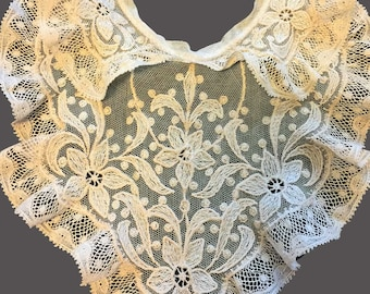 Beautiful Edwardian Embroidered Tulle Antique Lace Peter Pan Collar With Bib and Valenciennes Lace Ruffled Edges