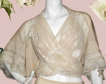 Vintage Style Lingerie Ensemble of Bed Jacket Tap Pants & Bralette in Silk Crepe de Chine and Vintage Laces Great Gift or Bridal Trousseau
