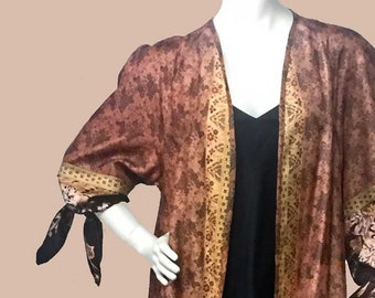 Vintage Silk Fabric Reversible Flared Terracotta Topper or Opera Coat With Coordinating Scarf Size M