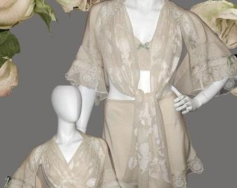 0106dba0e2 Vintage Style Lingerie Ensemble of Bed Jacket Tap Pants   Bralette in Silk  Crepe de Chine and Vintage Laces Great Gift or Bridal Trousseau
