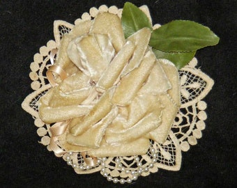 Vintage Velvet Rose and Lace Corsage/Brooch With Pearl and Ribbon Trim - Great for Hat, Blazer or Tea Dress Adornment