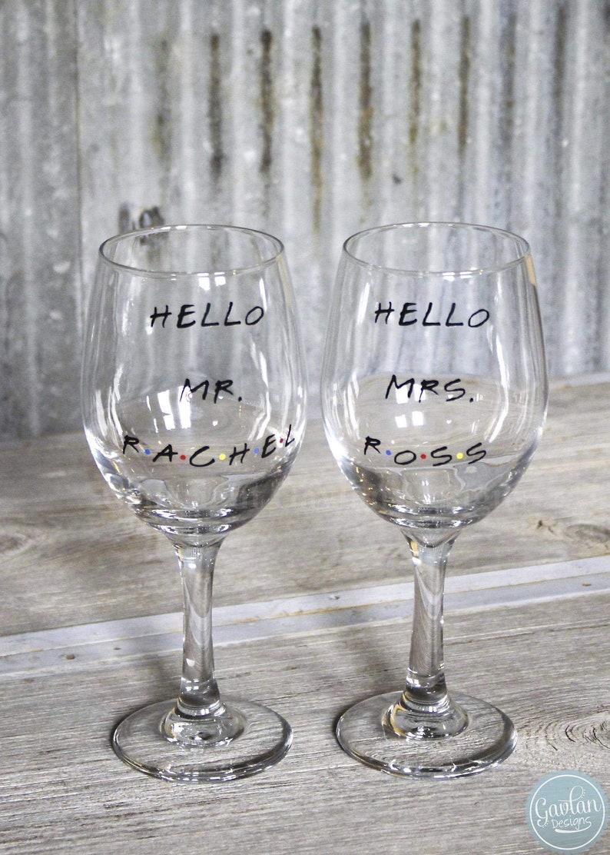 1f26eb118b3 FRIENDS TV Show inspired SET of Stemless Wine Glasses - Hello Mrs. Ross  Hello Mr. Rachel - Bride & Groom Gift