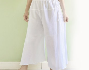 SALE, Palazzo Pants, Drawstring Cotton Pants, Boho Summer Beach Pants, Wide Leg Pants, Loose Fit Comfy Maternity Pants in White