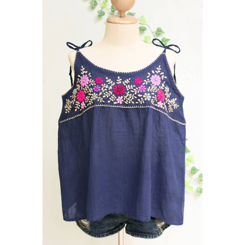 ed79dd84381b97 S M Boho Cami Top Floral Hand Embroidered Camisole Top