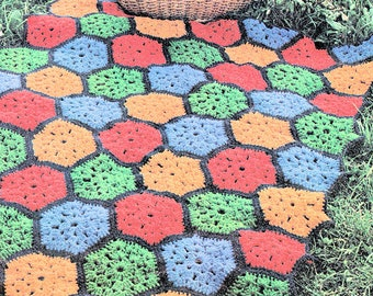 Hexagon Crochet Rug Etsy