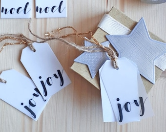 Noel/Joy Christmas Tags Set of 6 with gold and jute string,Noel Joy Tags,Xmas Christmas Gift Wrap,Rustic Chic Xmas Tags,Calligraphy Tags