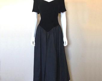4c063db8e29 VTG E. D. Michaels Womens Size 11 12 Black Velvet Off Shoulder Prom Dress