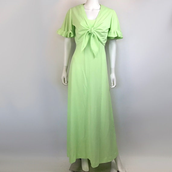 Vintage Womens Green Dress W/ Front Tie Cropped Ru