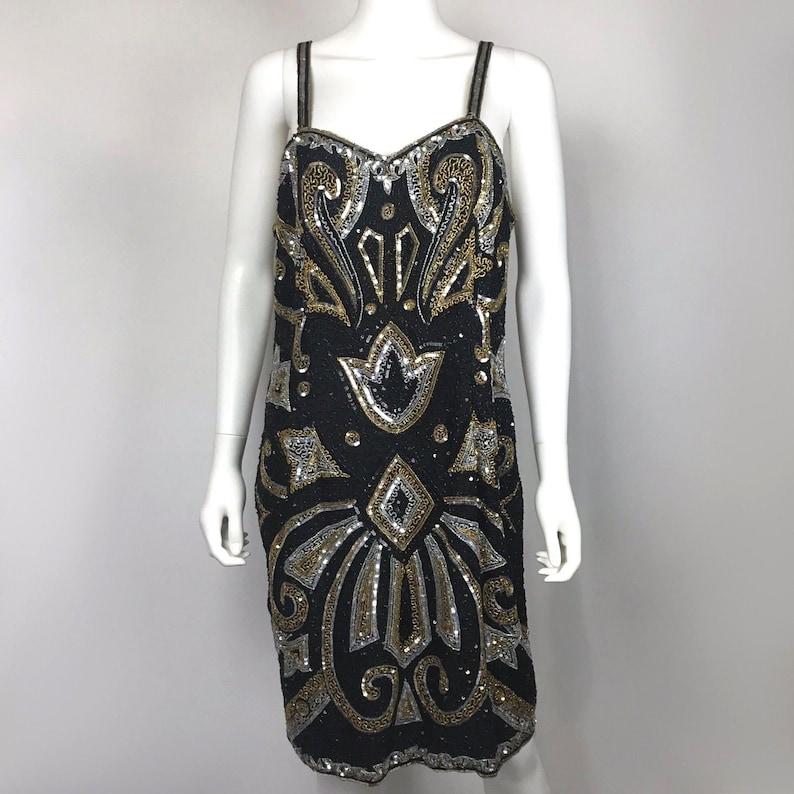 VTG Judith Ann Creations Womens Size L Sleeveless Silk Beaded Sequin Party Dress