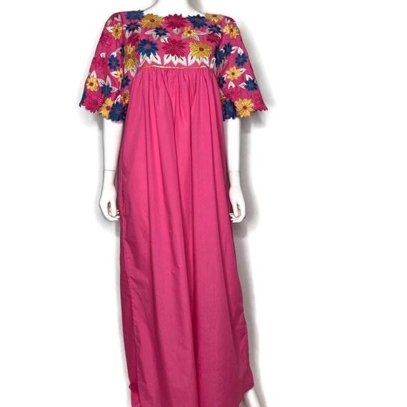 Vintage Royal Embroidered Floral Muumuu Dress
