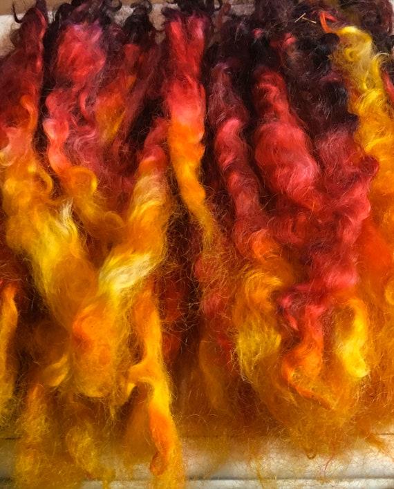 15g Of Fire Fairy Long Wool Fleece Locks,hand Sorted /& Hand Dyed