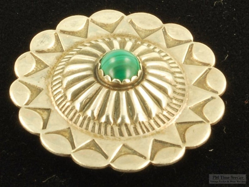 Round silver and malachite vintage button cover elaborate image 0