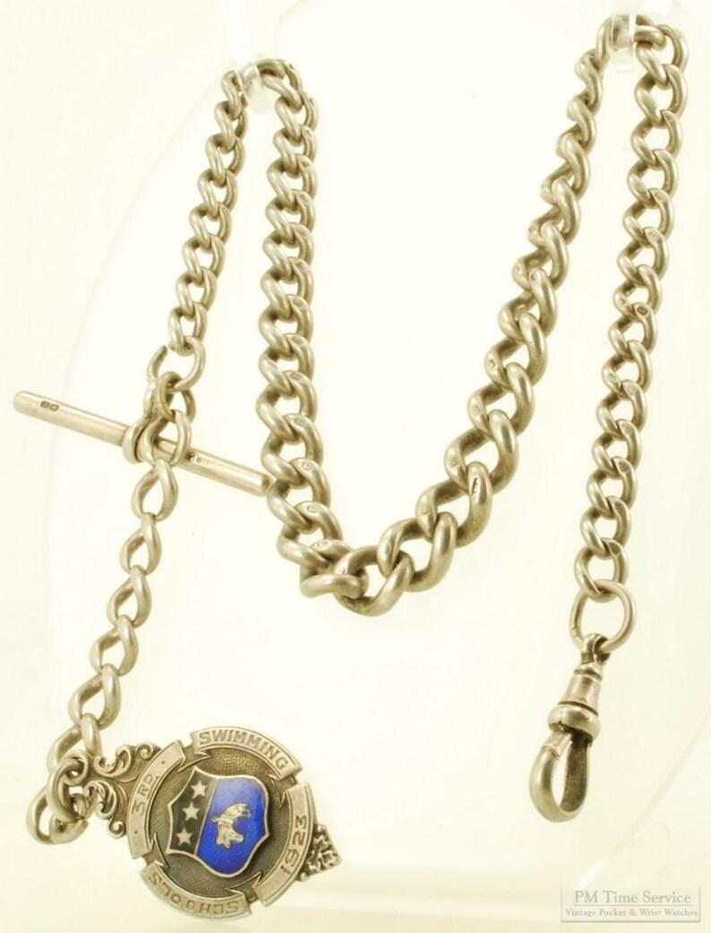 14 silver Albert style graduated link vintage pocket image 0