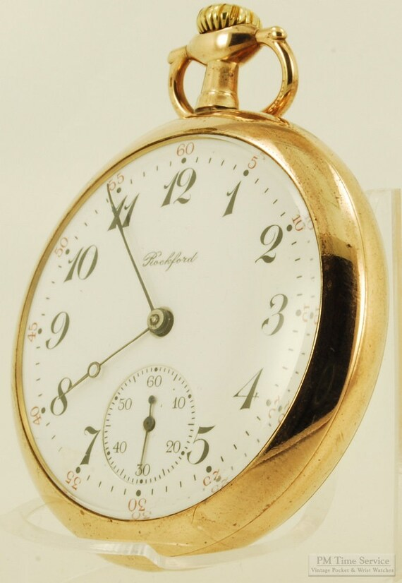 61eb075a9fd69 Rockford grade 565 vintage pocket watch, 16 Size, 17 Jewels, heavy yellow  gold (filled) case with deep floral engraving