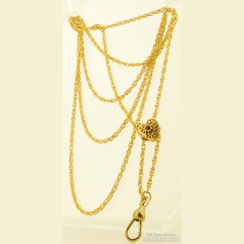 19 gold-toned fancy link ladies' vintage slide chain image 0