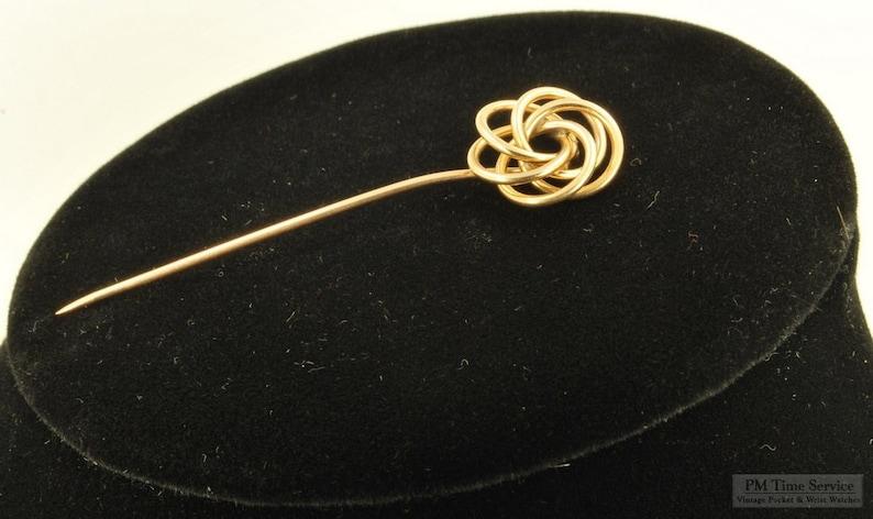 Yellow gold filled spiral vintage stick pin handsome spiral image 0