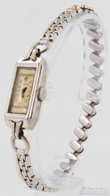Tavannes vintage ladies wrist watch 15 jewels white gold image 0