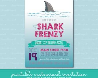 Shark Frenzy Birthday Invitation