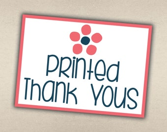 Printed Thank You Cards with Envelopes