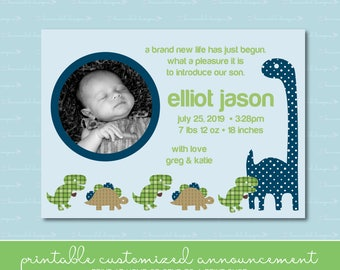 Baby Boy Dinosaurs Birth Announcement with Photo