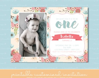 Shabby Chic Birthday Invitation with Photo, Vintage Rose, Floral, One, Coral & Mint