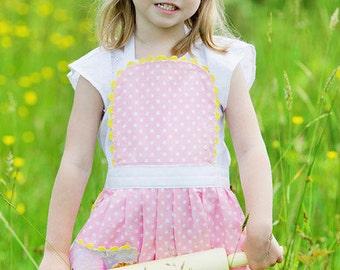 Girls Pink Polka Dot Apron, floral pocket, toddler apron sizes 2T- 12 years