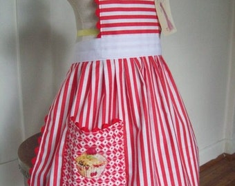 Apron, Peppermint Stripe, Red &White Stripe, Holiday Apron, Embroidered Cupcake Apron, Adult and Kids Sizes