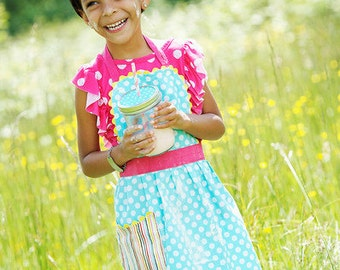 Girls Apron, Blue Retro Robin Polka Dots & Rainbow Stripes.  Toddler Aprons, Teen and Adult